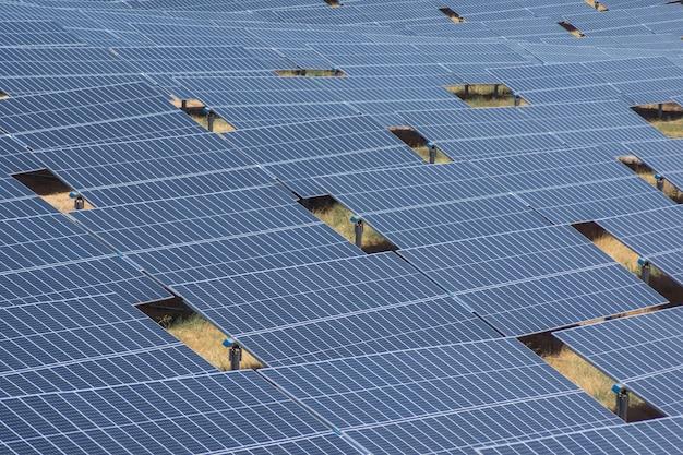 Zonnepanelen vullen op een zomerse dag bijna het hele beeld op enkele gaten waardoor het terrein te zien is