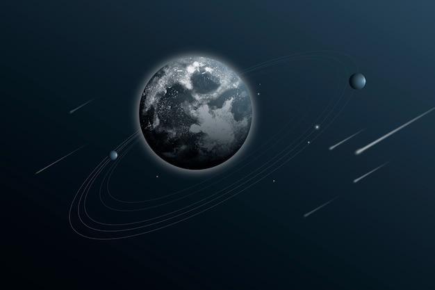 Zonnestelsel universum achtergrond met aarde in esthetische stijl