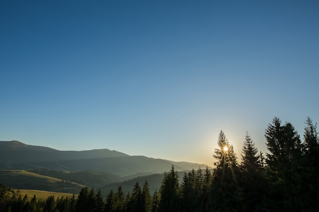 Zonnestraal bij zonsondergang die door de mist schijnt