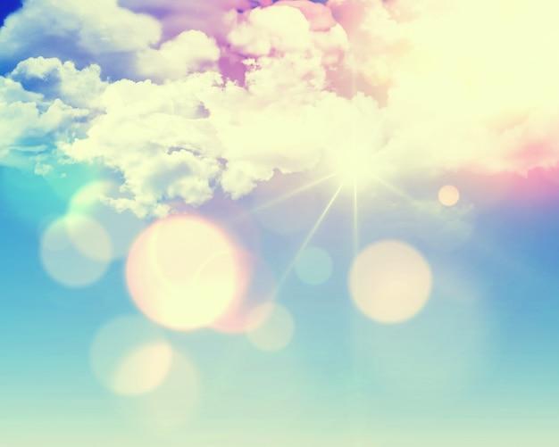 Zonnige blauwe hemel achtergrond met pluizige witte wolken en retro effect toegevoegd