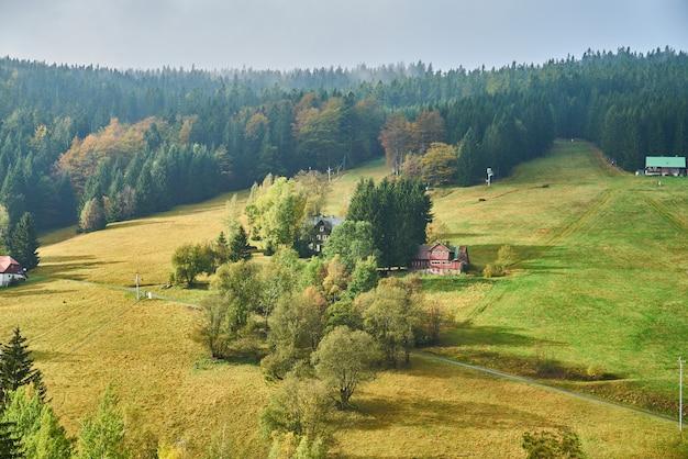 Zonovergoten heuvelachtig weiland in de herfst