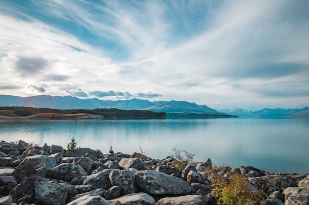 Zonsondergang bij mount cook national park naast lake pukaki