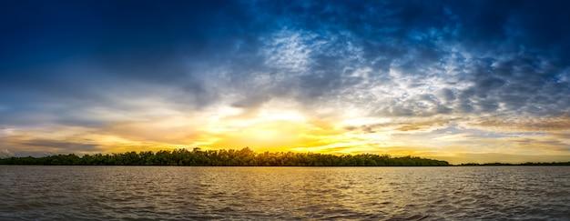 Zonsondergang en mangrovebos bij kust