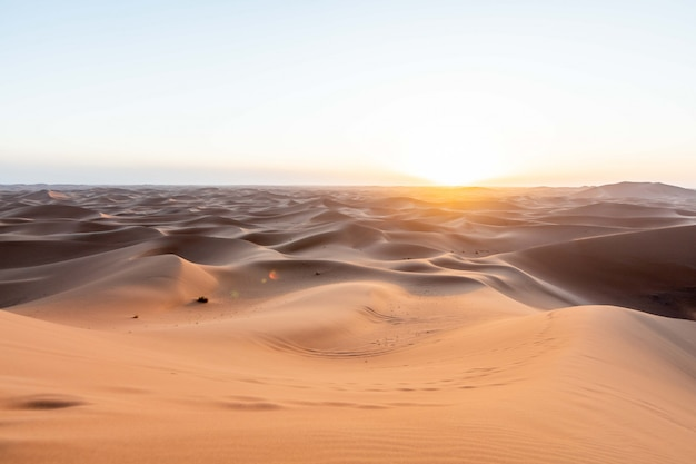 Zonsondergang in sahara dune-zand bij gouden sanset