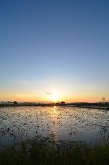 Zonsondergang met mooie hemel op meer, thailand