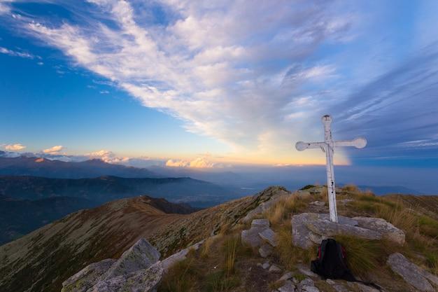 Zonsondergang op de alpen