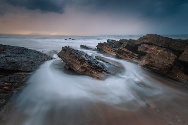 Zonsondergang op het strand van bidart baskenland