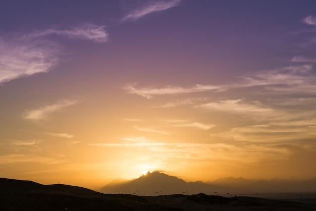 Zonsondergang over de sahara