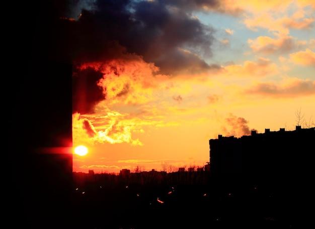 Zonsondergang prachtige stad.