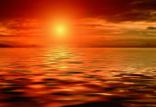 Zonsondergang, zon, mirroring zie water wolken zee licht