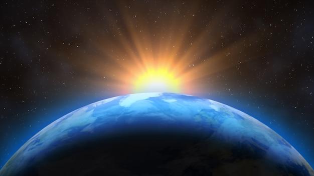 Zonsopgang boven de aarde. denkbeeldige weergave van de planeet aarde in de ruimte met de rijzende zon.