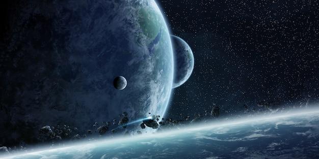 Zonsopgang boven de aarde in de ruimte