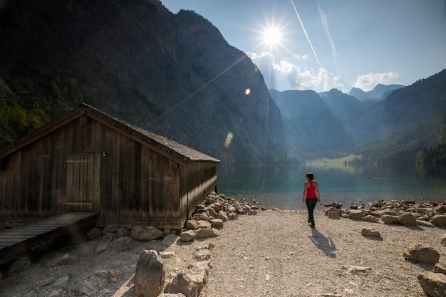 Zonsopgang in obersee-meer, beieren, zuid-duitsland. europa