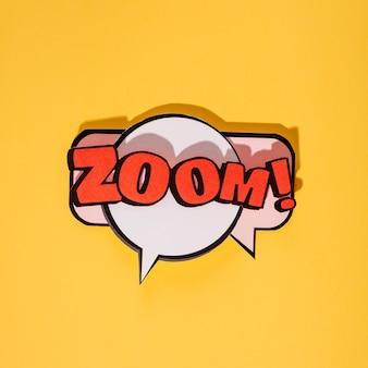 Zoom cartoon exclusieve lettertype tag-expressie op gele achtergrond