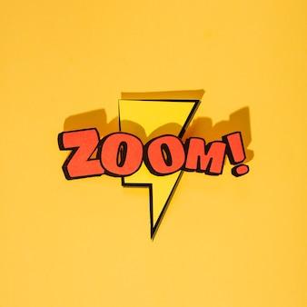Zoom cartoon exclusieve lettertype tag-uitdrukking op bliksemflits