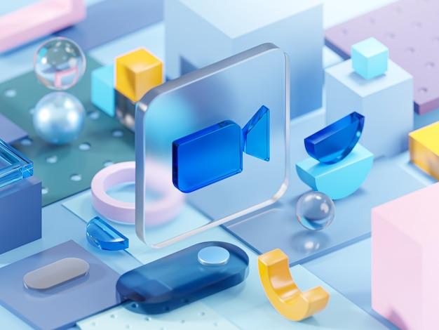 Zoom glas geometrie vormen abstracte compositie kunst 3d-rendering
