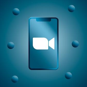 Zoomlogo op realistisch telefoonscherm