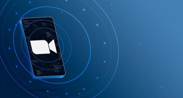 Zoomlogo op telefoon met technologische weergave, slimme 3d render