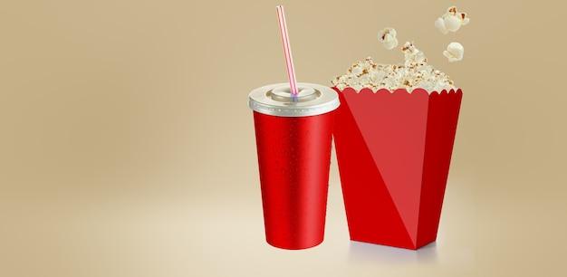 Zoute popcorn geïsoleerd op wit, 3d-rendering rode kop kartonnen doos