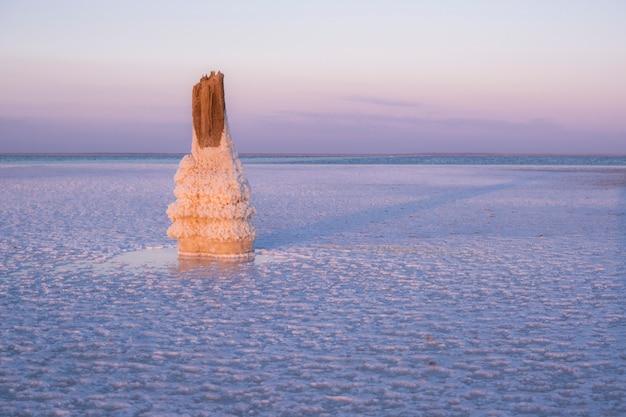 Zoutmeerlandschap bij zonsondergang. mooie foto in roze kleuren. grote foto van een zoutmeer.