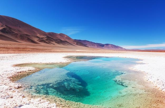 Zoutwaterzwembad in salinas grandes salt flat - jujuy, argentinië. ongewone natuurlijke landschappen.