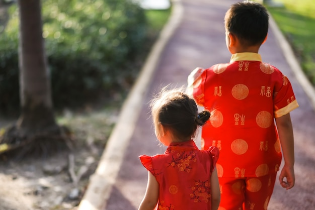Zus en broer in cheongsam jurk in het park