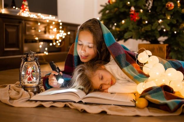 Zussen lazen een boek verpakt in plaid