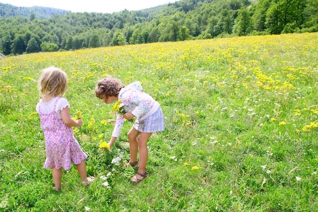 Zustermeisjes in weide spelen met lentebloemen
