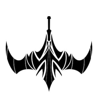 Zwaarden illustratie tattoo tribal grafische kunst zwart ontwerp, decoratie logo of patroon op stof