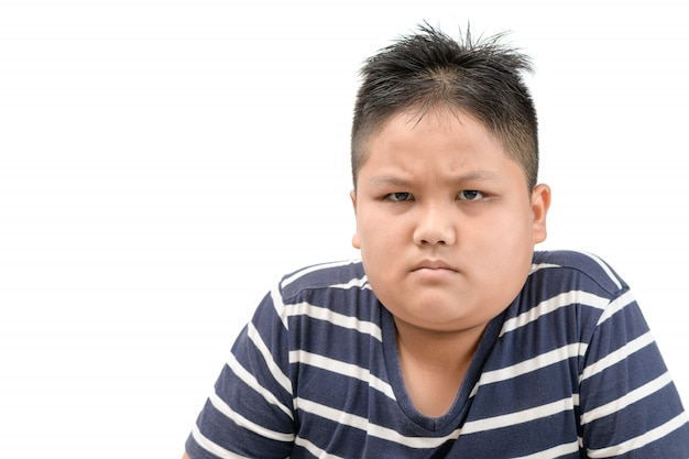 Zwaarlijvige dikke aziatische jongen boos uiting geven aan negatieve emotie