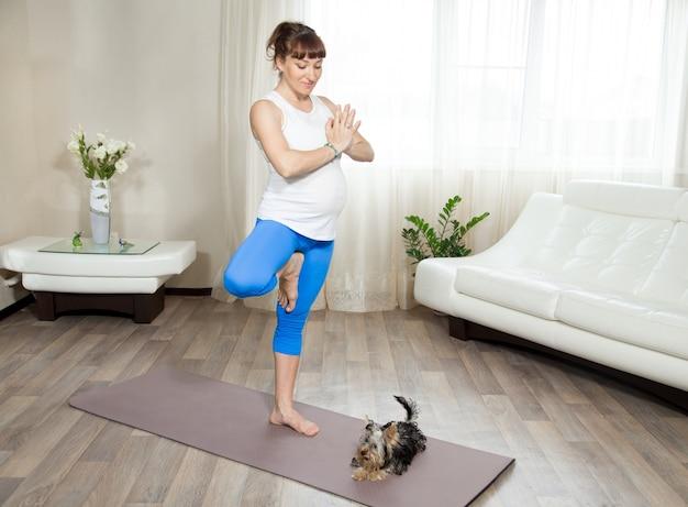 Zwangere vrouw en haar huisdier die thuis yoga doet
