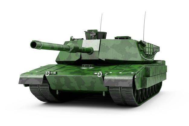 Zware militaire tank in camouflage geïsoleerd op een witte achtergrond