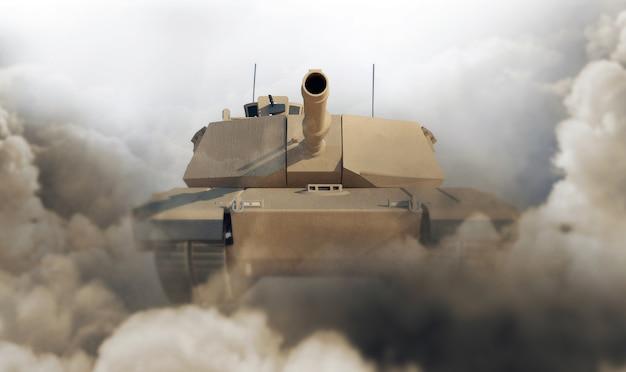 Zware militaire tank in woestijn