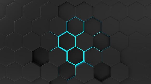 Zwart abstract hexagon patroon als achtergrond met lichte stralen.