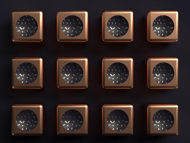 Zwart achtergrond koper vorm abstract 3d teruggevend patroon