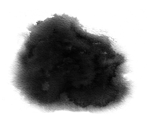 Zwart aquarelstaal van zwarte aquarelverf met wasbeurten en penseelstreek