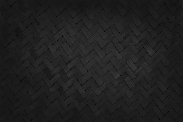 Zwart bamboe weefpatroon, oude geweven rotan mat textuur voor achtergrond en ontwerp kunstwerk.