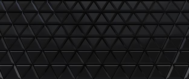 Zwart betegelde driehoekige abstracte achtergrond. geëxtrudeerde driehoeken glanzend oppervlak.