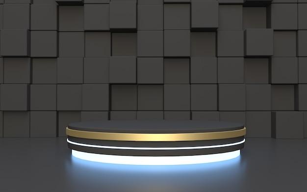 Zwart cilinderpodium met rechthoek abstracte achtergrond