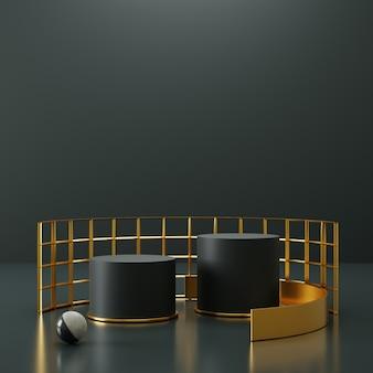 Zwart cilinderpodiumdisplay met geometrisch ornament.