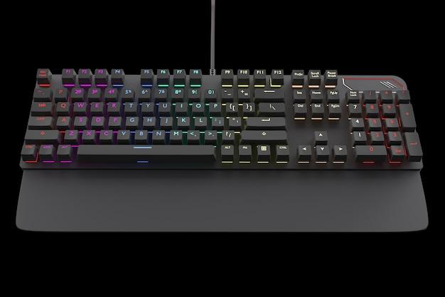 Zwart computertoetsenbord met geïsoleerde rgb-kleur