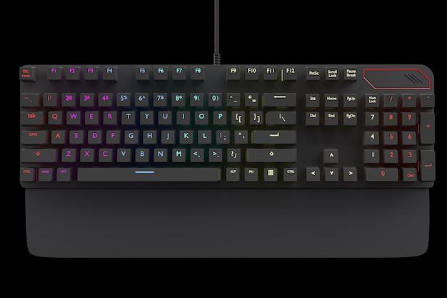 Zwart computertoetsenbord met rgb-kleur geïsoleerd op zwart met uitknippad