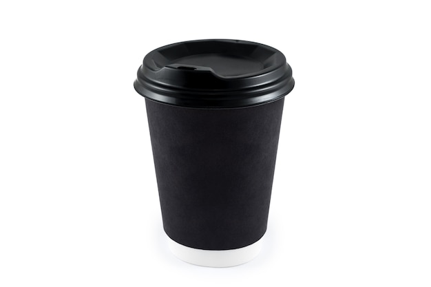 Zwart document koffiekopje op geïsoleerd wit. blanco papieren kopje koffie wegwerp om mee te nemen of om te gaan voor het toepassingslogo, ruimte voor ontwerplay-out.