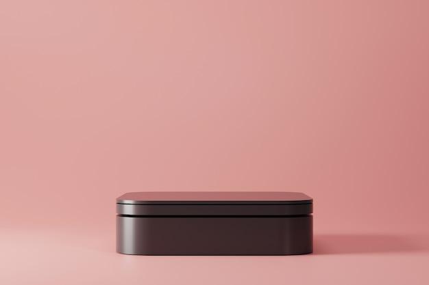 Zwart eenvoudig voetstuk op roze
