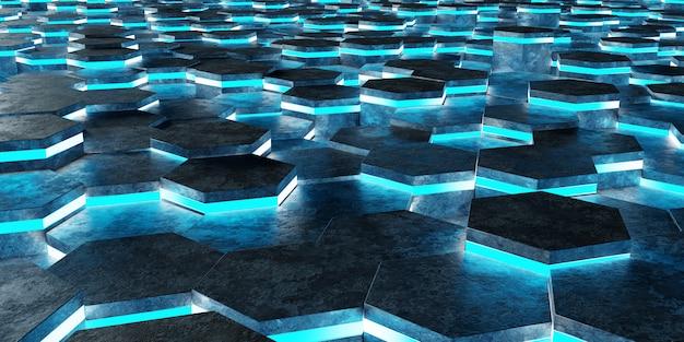 Zwart en blauw zeshoeken achtergrondpatroon 3d-rendering