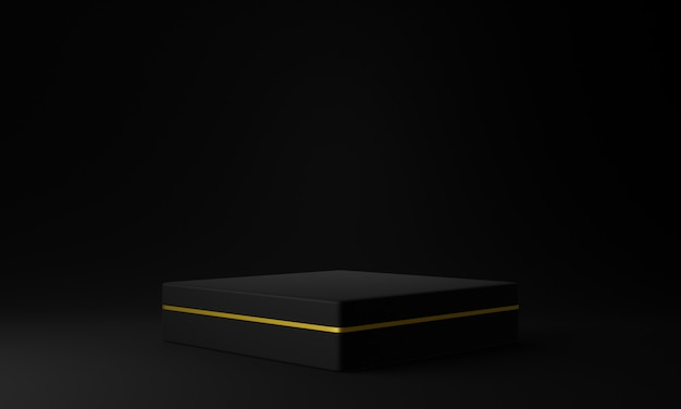 Zwart en goud geometrisch podium. donkere achtergrond. 3d illustratie.