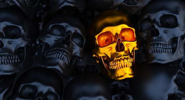 Zwart en goud menselijke schedels achtergrond, 3d render,
