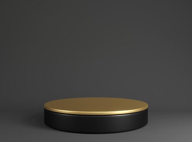 Zwart en goud podium voor de tentoonstelling van goederen