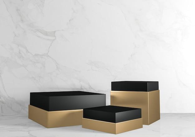 Zwart en goud vierkant rechthoekig voetstukwit voor cosmetisch product op achtergrondgranietwit. 3d-weergave