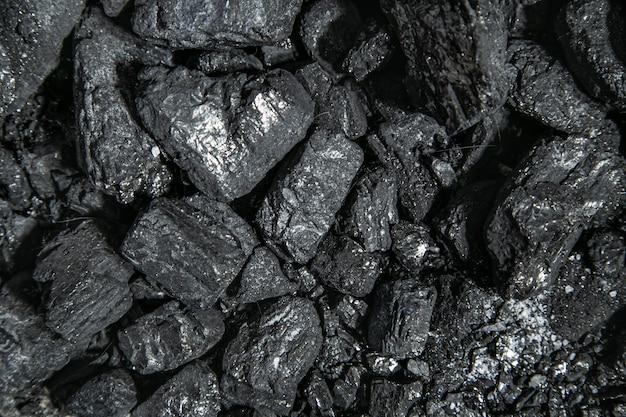 Zwart en grijze glanzende houtskoolstukken